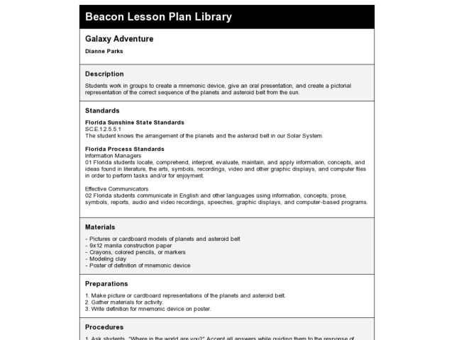 Galaxy Adventure Lesson Plan