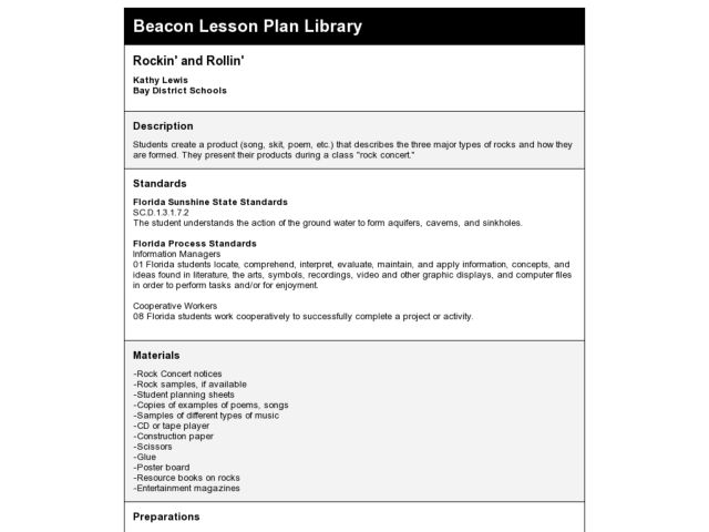 Rockin' and Rollin' Lesson Plan