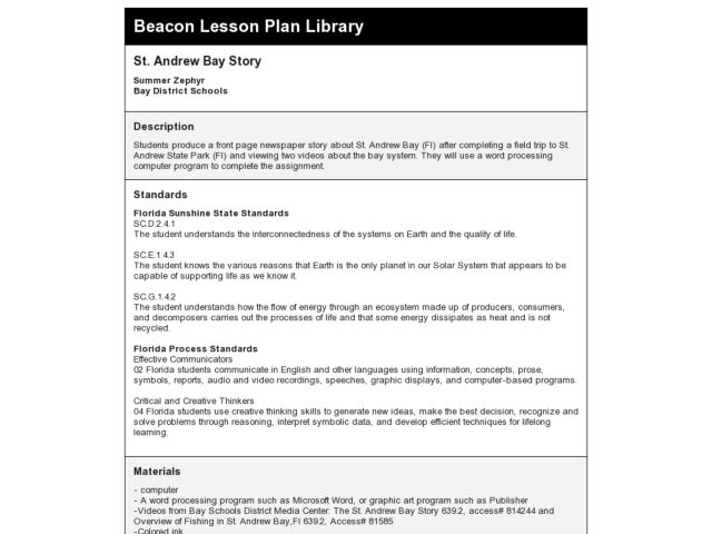 St. Andrew Bay Story Lesson Plan
