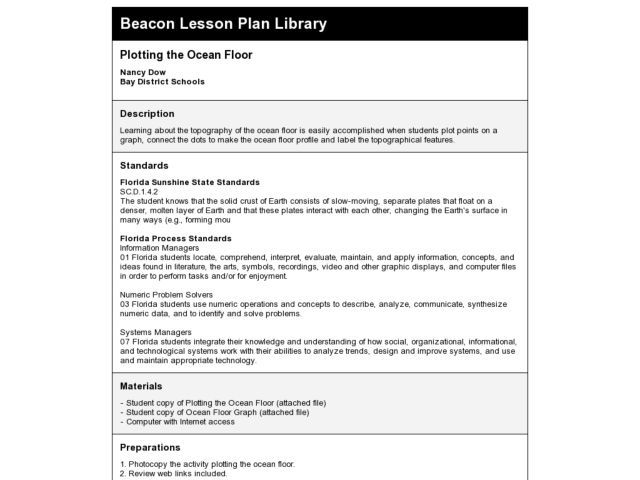 Plotting The Ocean Floor Lesson Plan For 4th Grade