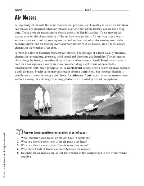 Air Masses Worksheet For 5th 8th Grade Lesson Planet