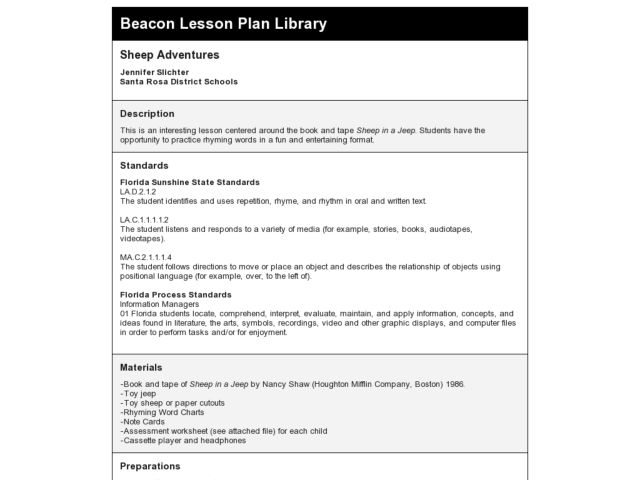 Sheep Adventures Lesson Plan