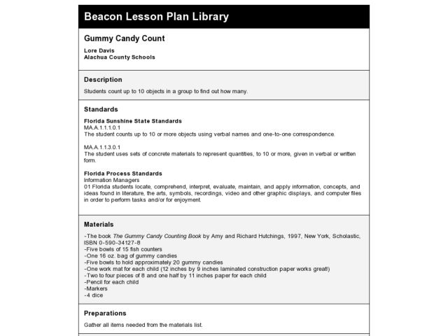 Gummy Candy Count Lesson Plan