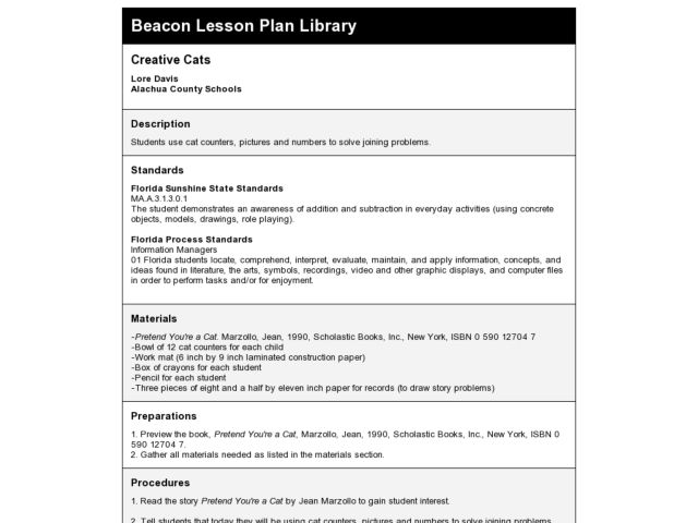 Creative Cats Lesson Plan