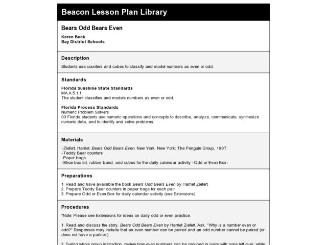 Bears Odd Bears Even Lesson Plan