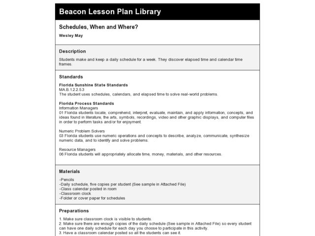 Schedules, When and Where? Lesson Plan