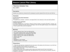 Television Schedule Time Lesson Plan
