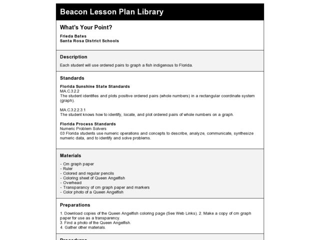 What's Your Point? Lesson Plan