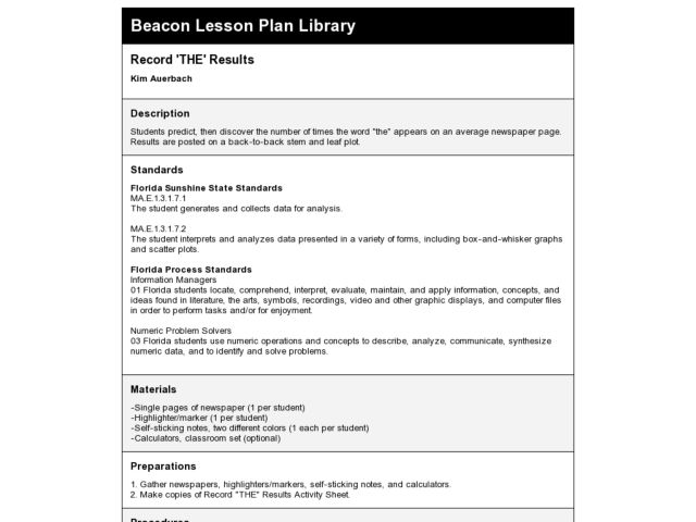 Record 'The' Results Lesson Plan