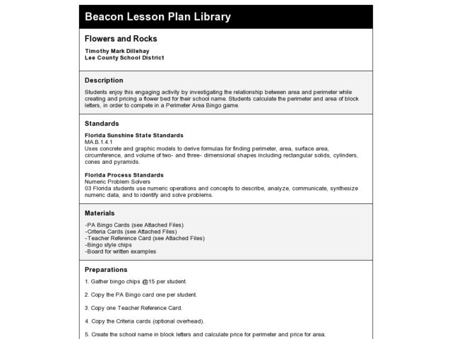 Flowers and Rocks Lesson Plan