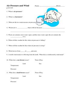 Air Pressure and Wind Worksheet