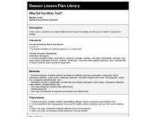 Why Did You Write That? Lesson Plan