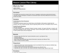 What's the Title? Lesson Plan