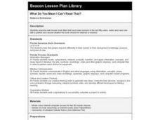 What Do You Mean I Can't Read That? Lesson Plan