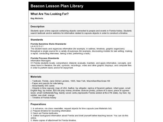 What Are You Looking For? Lesson Plan