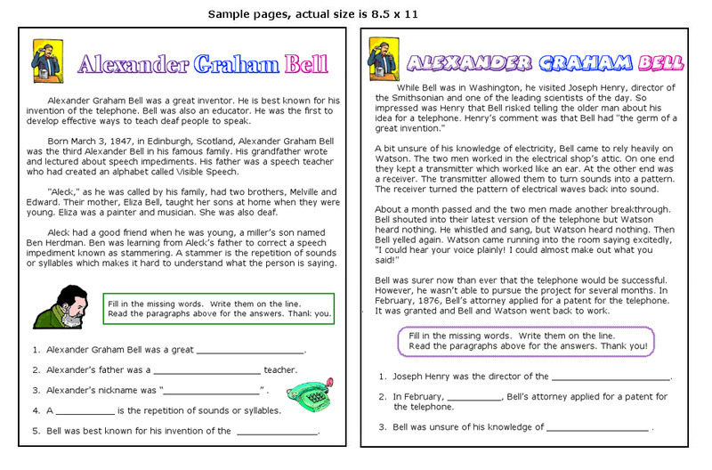 Alexander Graham Bell Fact File Research Worksheet / Activity