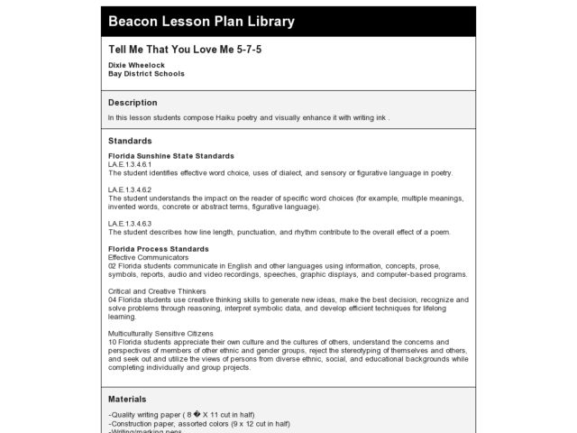 Tell Me That You Love Me 5-7-5 Lesson Plan