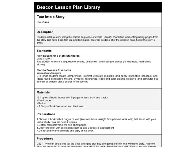 Tear Into a Story Lesson Plan