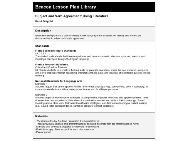 Subject and Verb Agreement: Using Literature Lesson Plan
