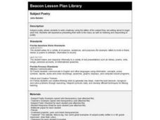 Subject Poetry Lesson Plan