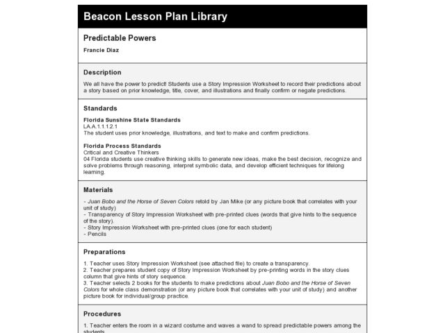 Predictable Powers Lesson Plan