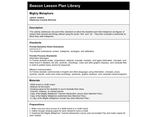 Mighty Metaphors Lesson Plan