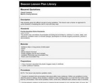 Macaroni Quotations Lesson Plan