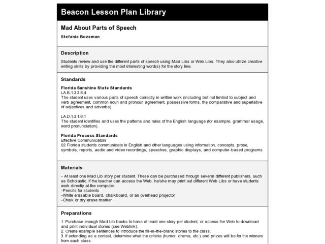 Mad About Parts of Speech Lesson Plan for 8th Grade | Lesson