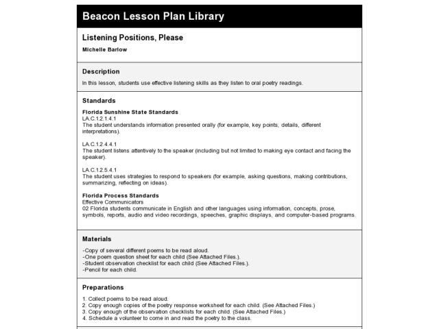 Listening Positions, Please Lesson Plan