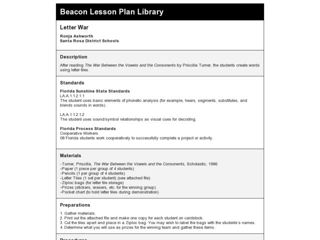 Letter War Lesson Plan