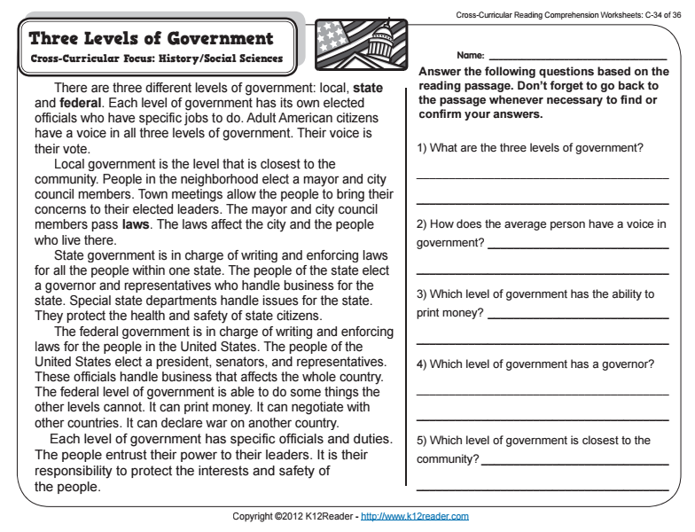 Three Levels of Government Worksheet for 2nd - 3rd Grade | Lesson Planet