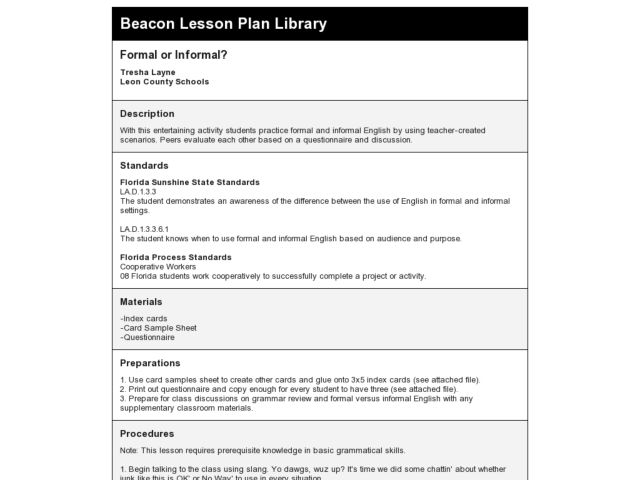 Beacon Lesson Plan Library: Formal or Informal? Lesson Plan
