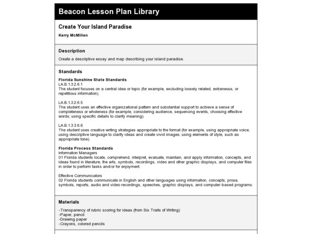 Create Your Island Paradise Lesson Plan