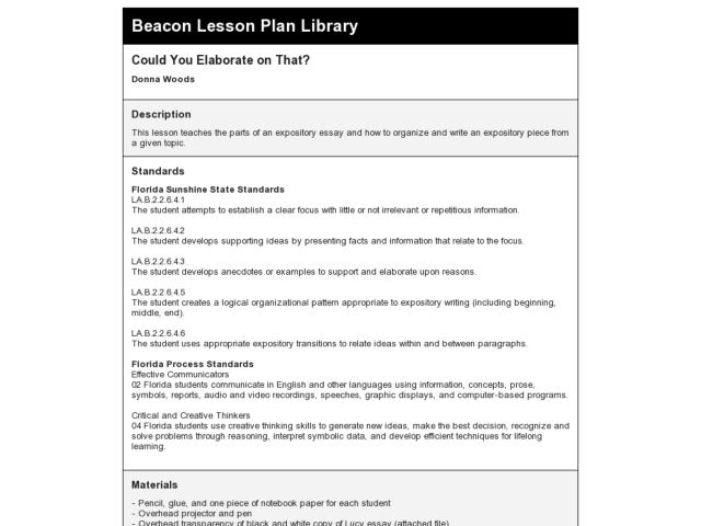 Could You Elaborate on That? Lesson Plan
