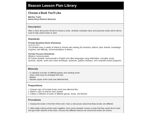 Choose a Book You'll Like Lesson Plan