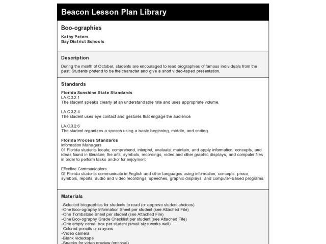 Boo-ographies Lesson Plan