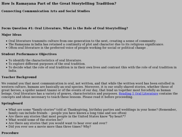 How Is Ramayana Part of the Great Storytelling Tradition? Lesson Plan
