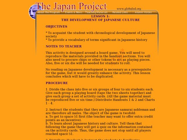 The Development of Japanese Culture Lesson Plan