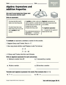 Algebra: Expressions and Addition Properties Worksheet