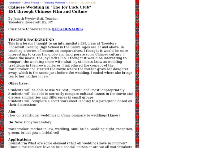 "Chinese Wedding in ""The Joy Luck Club"" ESL Through Chinese Film and Culture Lesson Plan"
