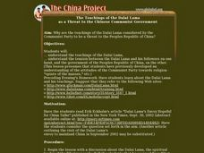 The Teachings of the Dalai Lama as a Threat to the Chinese Communist Government Lesson Plan