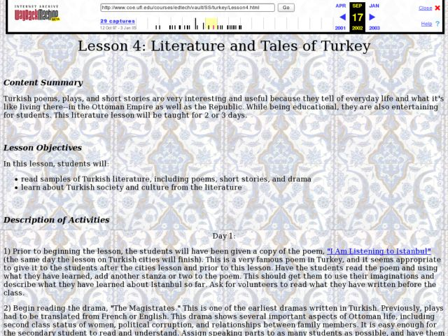 Literature and Tales of Turkey Lesson Plan