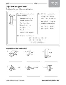 Algebra: Surface Area Worksheet