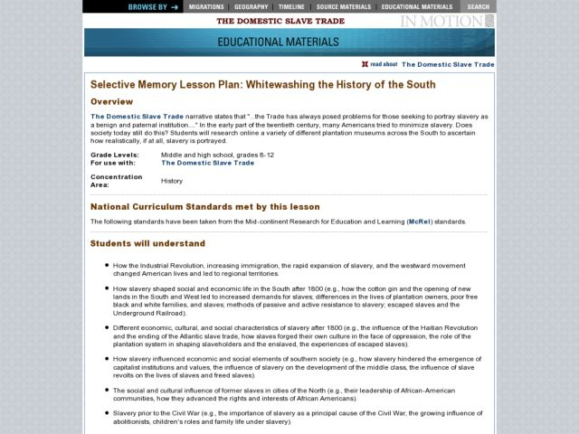 Whitewashing the History of the South Lesson Plan