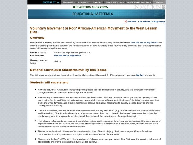 Voluntary Movement or Not? African-American Movement to the West Lesson Plan