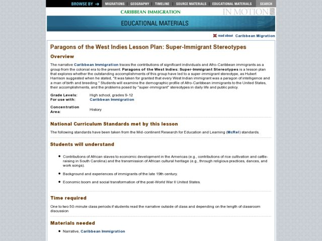 Paragons of the West Indies Lesson Plan: Super-Immigrant Stereotypes Lesson Plan