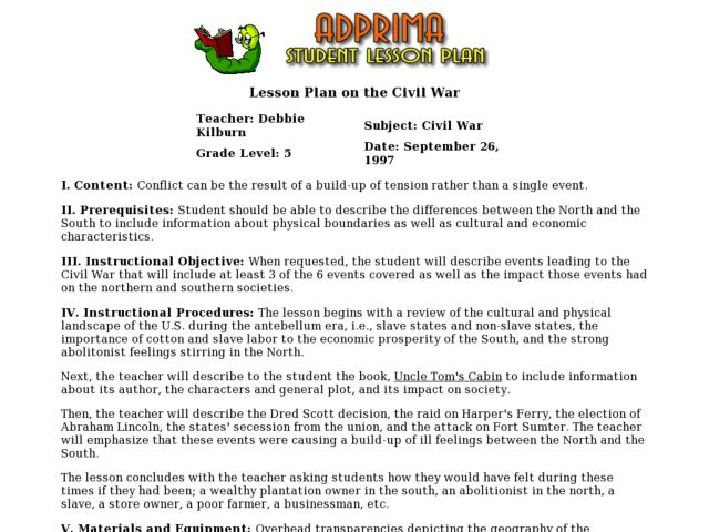 Lesson Plan on the Civil War Lesson Plan