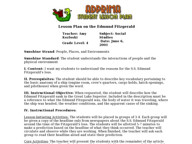 Lesson Plan on the Edmund Fitzgerald Lesson Plan