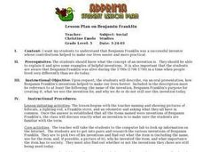 Lesson Plan on Benjamin Franklin Lesson Plan
