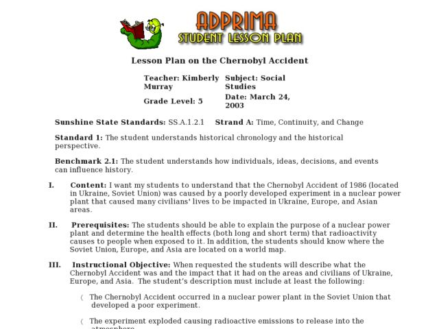 The Chernobyl Accident Lesson Plan